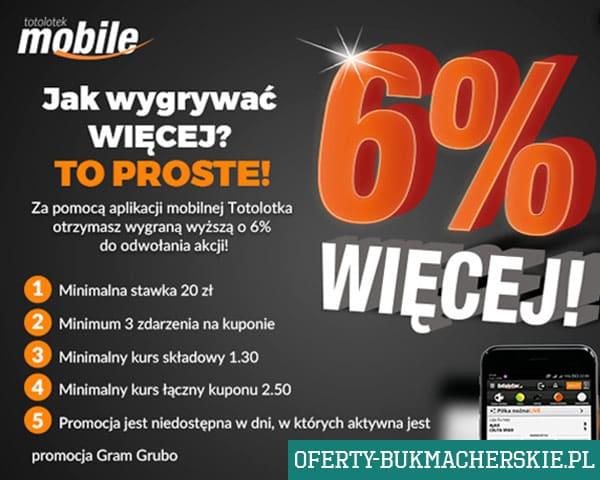Bukmacher Totolotek – 6% więcej dla mobile