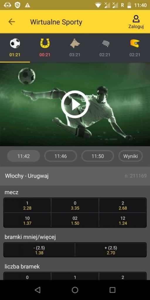Sporty wirtualne w aplikacji Fortuny
