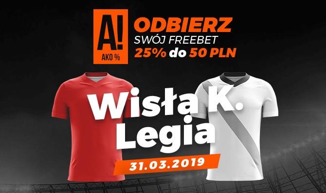 Bonus 50 zł za zakład na mecz Wisła - Legia